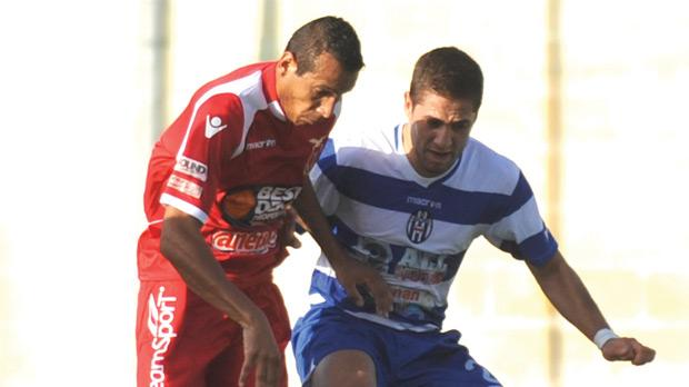 Marcelo Pereira launching a Vittoriosa attack against Gudja. Photo: Chris Sant Fournier