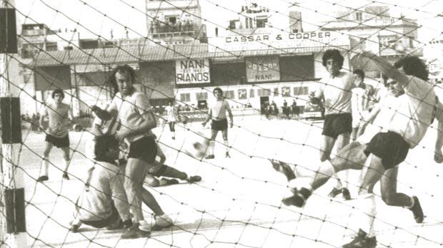 An action from the 1971-72 season championship decider between Old Firm rivals Sliema Wanderers and Floriana which the Blues won 2-0 after extra-time.