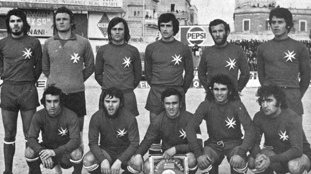 Two landmark moments in the history of Maltese football... (left) the match against Greece in 1975 which brought Malta's first ever win in international football and the European Cup qualifier against England in 1971.