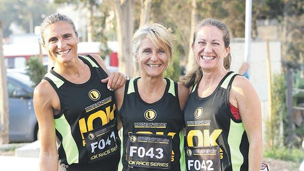 Three of the female runners who participated in the third leg of the Urban Jungle House of Sport 10K Series, held in Burmarrad.