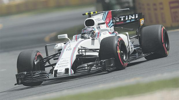 Lance Stroll driving his Williams at Melbourne.