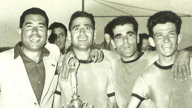The jubilant Sliema players after winning the 1956 FA Trophy.