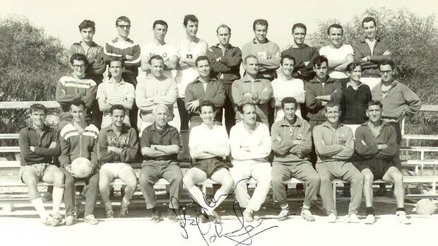 Joe Griffiths (front row, fourth from left) during one of the many coaching courses he organised for prospective Maltese football coaches.