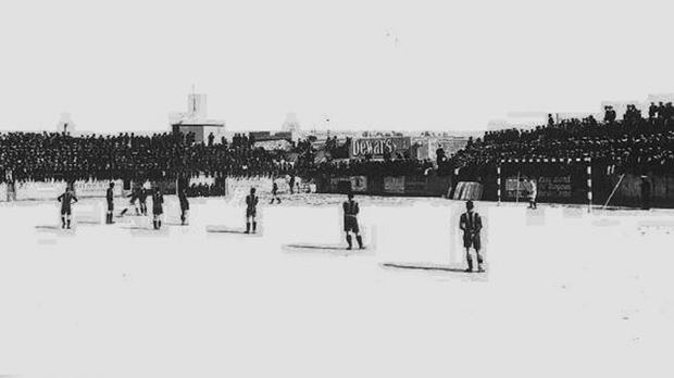 The old Empire Sports Ground during the 1925 Cassar Cup final.
