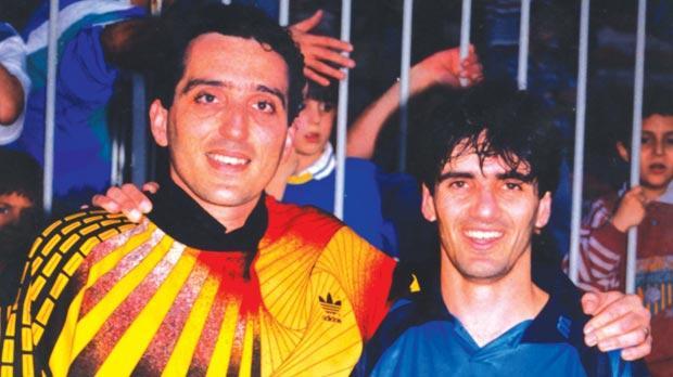 Goalkeeper Ernest Barry (left) with former SliemaWanderers and Malta team-mate Carmel Busuttil.