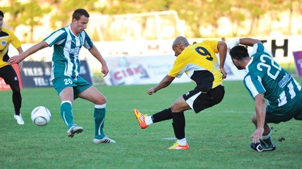 Hibs striker Marcelo Dias shoots at the Floriana goal yesterday. Photo: Chris Sant Fournier