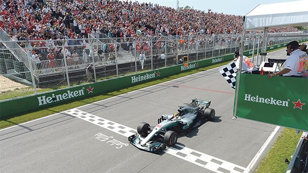 Mercedes' Lewis Hamilton crosses the finish line to win the Canadian Grand Prix, a fortnight ago.