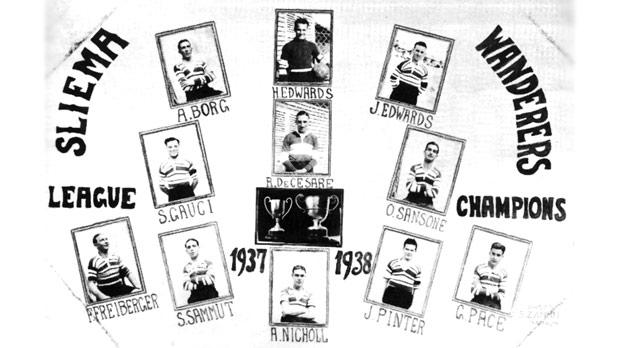 Postcard issued in 1938 to commemorate Sliema's league success.