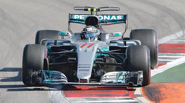 Valtteri Bottas driving his Mercedes to victory at the Russian Grand Prix on Sunday.