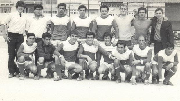 Players and officials of Msida St Joseph prior to a league match during the 1969-70 season.