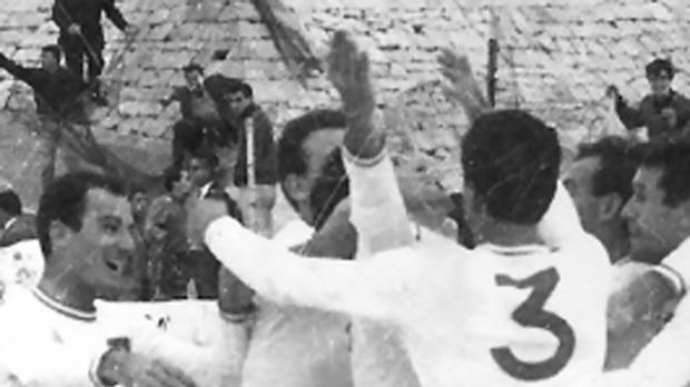 Valletta players celebrate after beating Sliema Wanderers 3-1 in the 1966 Cassar Cup final.
