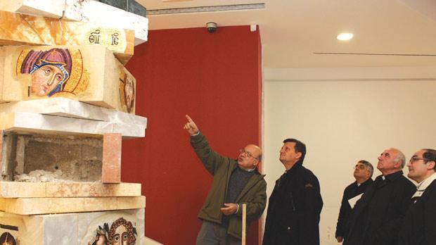 Bishop Mario Grech being shown around the museum by Mgr Farrugia. Photo: Charles Spiteri