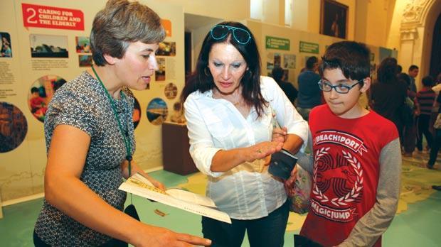 Ekoskola coordinator Marvic Refalo giving details to visitors during the exhibition. Photo: Charles Spiteri
