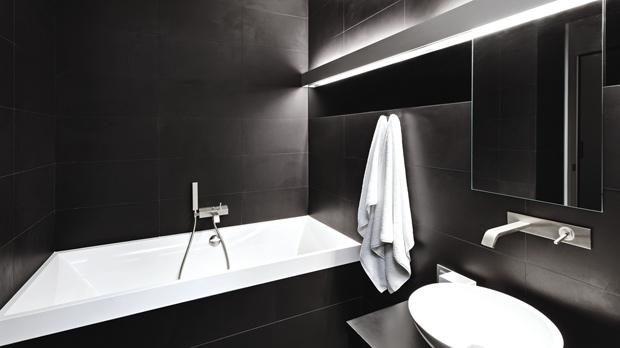 Black is the new black when it comes to contemporary bathrooms.