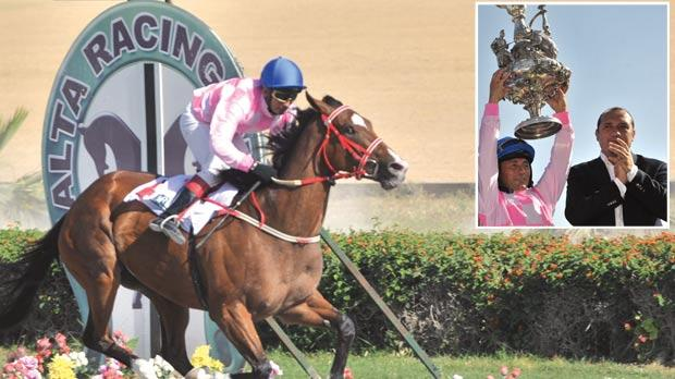 Sleepwalking dashes past the post to win the Mediterranean Derby at Marsa yesterday. Inset: Jockey Demis Zammit lifts the trophy as MRC chairman Matthew Brincat applauds. Photos: Jason Borg
