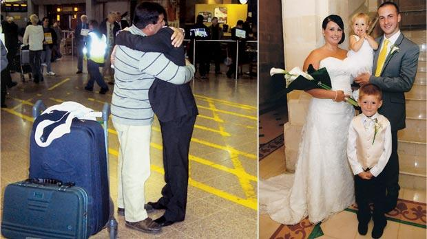 The hug of a lifetime... Joseph Parnis (left) waited 23 years to meet his son Piers at Heathrow Airport. Right: Piers Parnis returns to his roots to tie the knot with Rebekah, the mother of his two children Reece and Eva Marie.