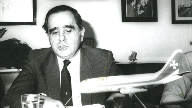 Albert Mizzi as Air Malta chairman in the 1970s.