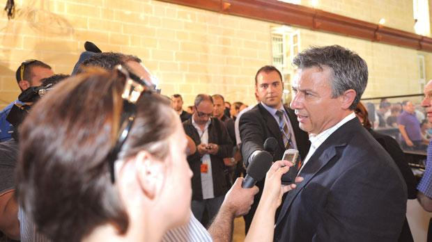 Jeffrey Pullicino Orlando speaking to reporters after the referendum result was announced last Sunday.