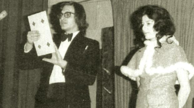 Vanni Pulé and his wife Mary Anne performing stand-up magic in an early show.