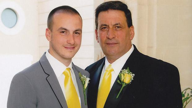 Joseph Parnis and his long-lost son Piers at his wedding at Capua Palace in August.
