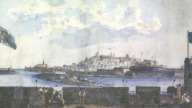 A view of Valletta, taken from the Għargħur Battery (overlooking Manoel Island), during the Siege of 1800. Watercolour by Major James Weir – private collection.