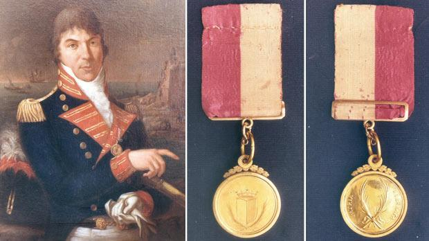 Portrait of Filippo Castagna. Right: Obverse and reverse sides of the 'Malta Blockade' medal (Photos courtesy of Alexander Cachia Zammit).
