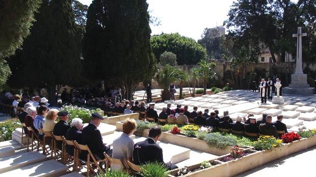 The Anzac Day commemoration ceremony at Pietà Military Cemetery on April 25, 2012.