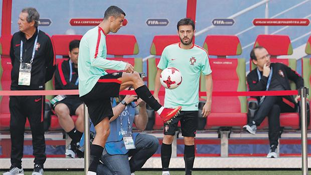 Cristiano Ronaldo (left) during training at the Kazan Arena.
