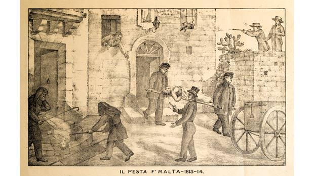 An image, courtesy of Salv Stellini, showing three vignettes of what must have been regular events during the plague in Malta between 1813 and 1814.