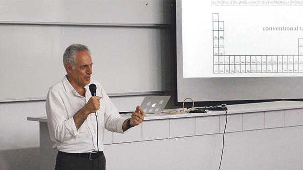 Dr Eric Scerri delivering his lecture at the University of Malta. Photo: Abigail Galea