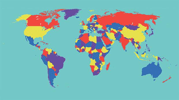 This world map uses four colours for the countries and a fifth colour for the lakes/seas. According to the Four Colour Theorem, the whole map can be re-coloured with only four colours. However, this may result in having some lakes/seas coloured the same as some countries. Image Source: https://en.wikipedia.org/wiki/Four_color_theorem