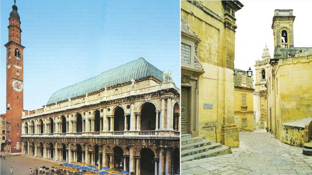 Andrea Palladio's famous 'Loggia' in Vicenza, which buttresses an unstable ancient building behind it, with the Torre di Piazza in the background. Right: The impressive church close which opens up into the piazza, burial ground of the fallen of the Great Siege.
