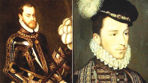 Philip II of Spain (left), who supported Romegas, and Henry III of France, who supported La Cassière.