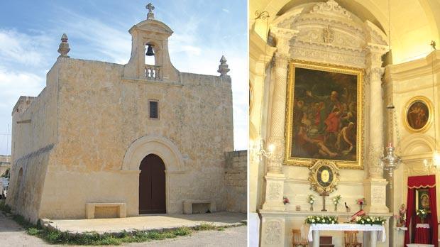 Santa Marija ta' Ħax-Xluq chapel, l/o Siġġiewi. Right: Chapel at St Pawl tat-Tarġa, Naxxar.