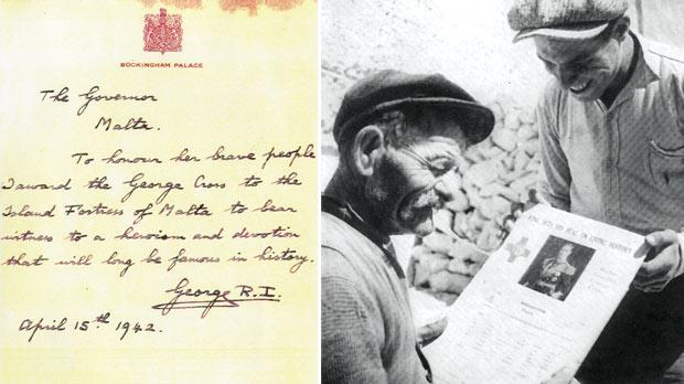 The original message in King George's own hand awarding the George Cross to Malta. Right: Two Maltese farmers holding a copy of The Sunday Times of Malta feature on the George Cross award.