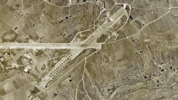 An aerial view of the airfield at Qrendi.