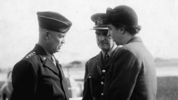 General Eisenhower, (Allied Supreme Commander in Europe) and later President of the US, meeting Colonel Oxley and Mabel Strickland in Malta on his way to the Yalta summit to meet Churchill and Stalin in 1945.
