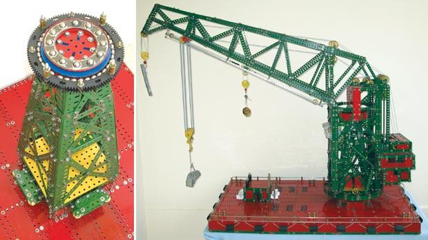 The compound Meccano ball bearing unit on which the heavy superstructure revolves. Right: The Meccano model is faithful to the original in scale and appearance. Photos: Joseph N. Attard