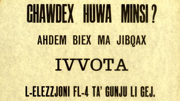 A 1961 election poster: Għawdex huwa minsi? Is Gozo a forlorn island? Photo: National Archives Gozo