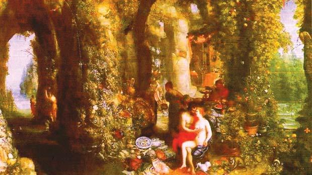Jan Brueghel the Elder (1568-1625 an amorous scene of Ulysses with the nymph Calypso in a cavern with a Maltese dog lurking beneath them.