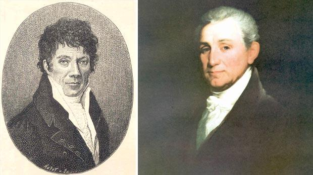 Ovide Doublet, the Grand Master's secretary for the French Langues in Malta. Right: Portrait of James Monroe, US Ambassador to Paris, who negotiated in Paris with the Order of Malta.