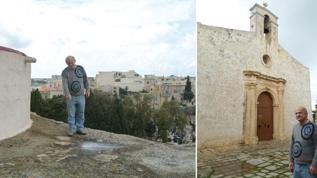 Grezzju Vella showing the location of the opening. Right: In front of St Gregory's church.