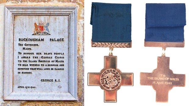 "The marble tablet on the façade of the Palace, Valletta, reproducing King George's message to the people of Malta. Right: The George Cross and its reverse, inscribed ""to the Island of Malta, 15 April 1942"". Photos: DOI"