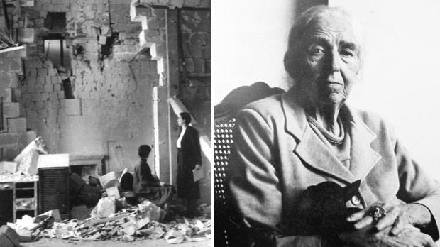 Mabel in the bombed out office at The Times of Malta. Right: Mabel – portrait by Lord Snowdon when she was in her late 70s.