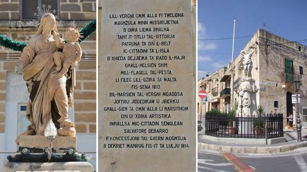 From left: A statue of Our Lady erected in 1816 in Senglea, one of the localities delivered from the plague, the plaque underneath the statue and the statue of St Sebastian erected at Qormi after the 1813 plague.