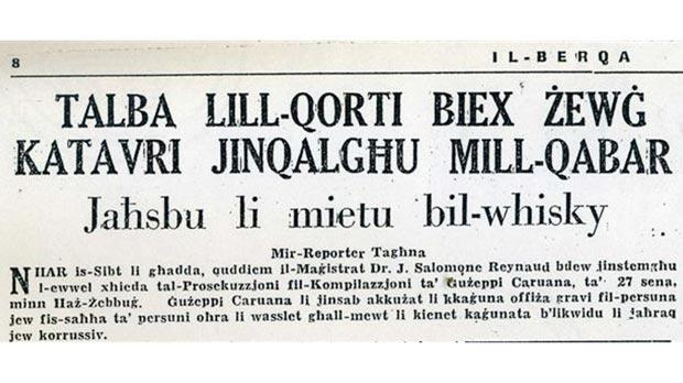 The report on the 1965 exhumations in the newspaper Il-Berqa.