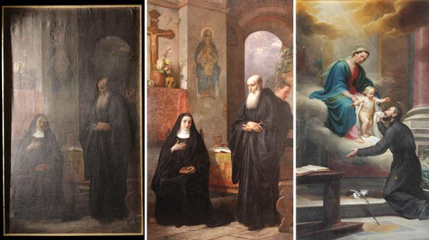 The painting of St Benedict and St Scholastica before (left) and after its conservation and restoration. Right: The titular painting of The Virgin Mary offering Jesus to St Catejan by Pietro Gagliardi.