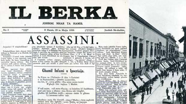 Il Berka's report on the assassination attempt. Right: The Auberge d'Auvergne in Kingsway, Valletta, which housed the law courts between 1853 and 1941.