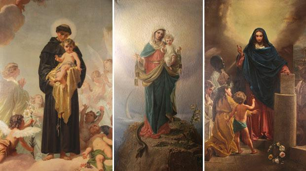 St Anthony and the Infant Jesus by Domenico Bruschi. Middle: The Carmelite Madonna by Giuseppe Calì. Right: Our Lady of Holy Doctrine, also by Calì.