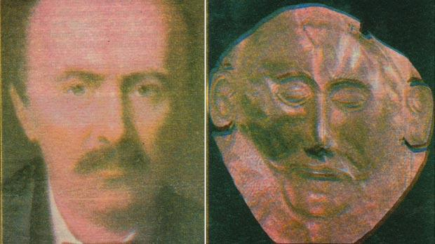 Heinrich Schliemann, discoverer of Troy in 1870, cast his envious eyes on the perceived treasures of the Maltese Neolithic temples. Right: Gold mask unearthed in the Acropolis of Mycenea.